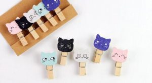 Lovely Cat Meow Wooden Clip with Hemp Rope FOD