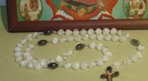 White Quartz & Hematite Catholic Rosary New Unused