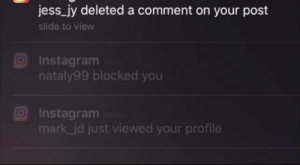 Instagram, Memes, and App Store: :  Wednesday, October   O Instagram now  jess_jy deleted a comment on your post  slide to view  Instagram  nataly blocked you  Instagrarm  mark_jd just viewed your profile  Catching all my stalkers now!  Search InstantReport on the AppStore! RT @katy_b: Catching all my stalkers Search InstantReport in the App Store! https://t.co/UCojgWZD