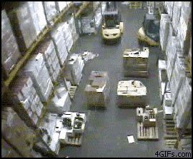 Guy crushes a forklift into warehouse racks and makes them all collapse on his…