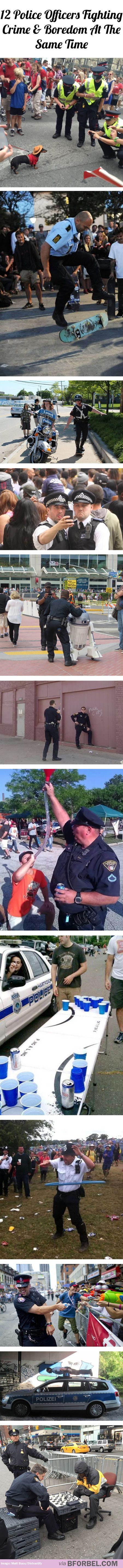 12 police officers fighting crime and boredom at the same time
