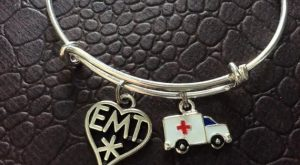 Ambulance and EMT Medical Charm on a Silver Expandable Adjustable Bangle Bracelet Paramedi...