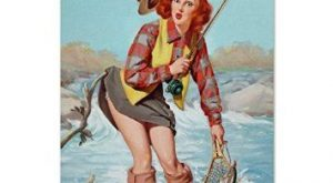 Buy Pin Up Girl, Fishing, Vintage Poster Poster in Cheap Price on
