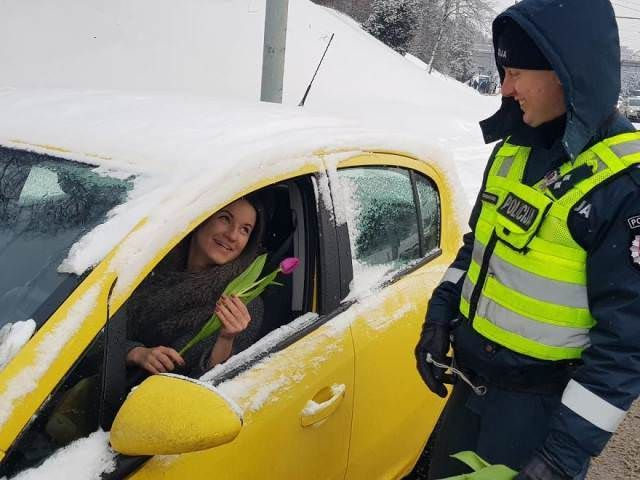 Lithuanian police tradition: pull over every female driver on International Women's Day and give…