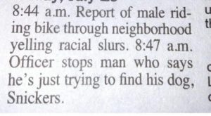 A Newspaper Police Blotter