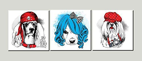Amoy Art –  Piece Funny Dog Wall Art on Canvas Picture Photo Painting…