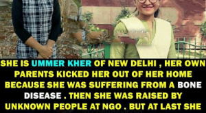 Memes, Parents, and Respect: DO YOU KNOW THIS GIRL ?  LIC SERVICE  SHE IS UMMER KHER OF NEW DELHI, HER OWN  PARENTS KICKED HER OUT OF HER HOME  BECAUSE SHE WAS SUFFERING FROM A BONE  DISEASE. THEN SHE WAS RAISED BY  UNKNOWN PEOPLE AT NGO. BUT AT LAST SHE  CRACKED INDIA'S TOUGHEST IAS EXAM TO  ACHIEVE HER CHILDHOOD DREAM RESPECT  FEEL PROUD TO SHARE THIS PICTURE Hats off ÿÿÿ