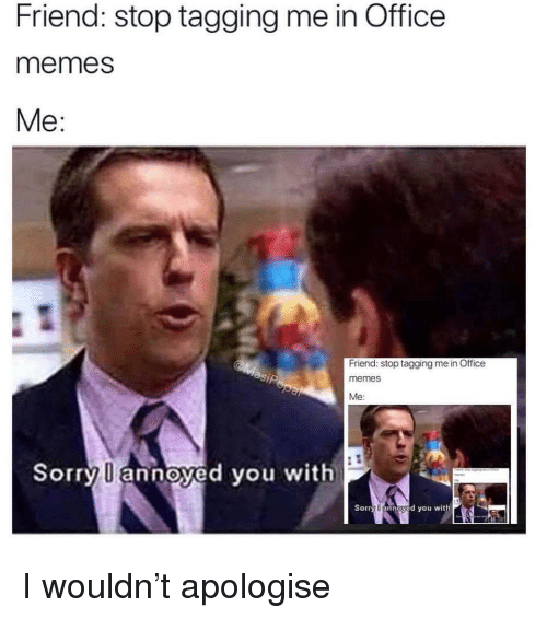 Memes, Sorry, and The Office: Friend: stop tagging me in Office  memes  Me:  Friend: stop tagging me in Officee  memes  Me  Sorry  annoyed you with  Sorry l annayed you with