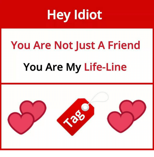 Life, Memes, and Idiot: Hey Idiot  You Are Not Just A Friend  You Are My Life-Line  io