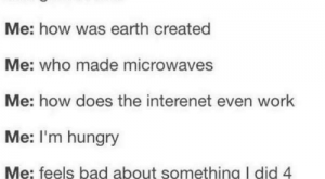 Bad, Funny, and Hungry: Me: I'm so tired I could collaspe into  bed and sleep for a year.  Me: gets in bed  Me: how was earth created  Me: who made microwaves  Me: how does the interenet even work  Me: I'm hungry  Me: feels bad about something I did   years ago  Me: remembers  unfinished tasks  memes.Com