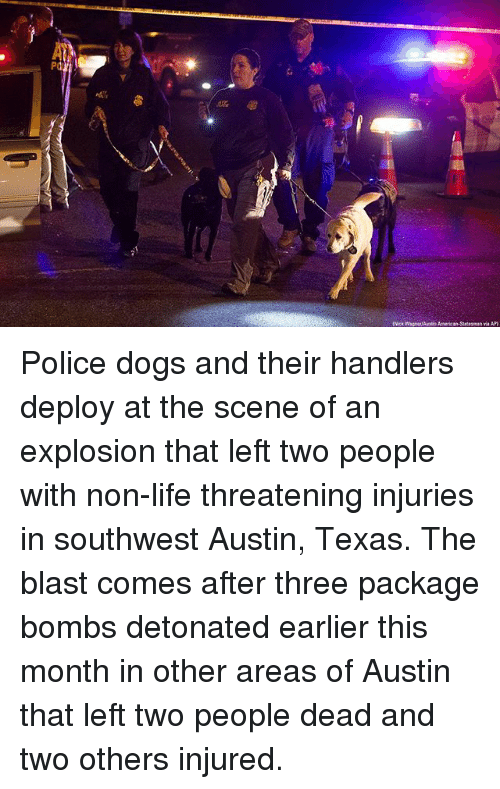 Dogs, Life, and Memes: Police dogs and their handlers deploy at the scene of an explosion that left two people with non-life threatening injuries in southwest Austin, Texas. The blast comes after three package bombs detonated earlier this month in other areas of Austin that left two people dead and two others injured.