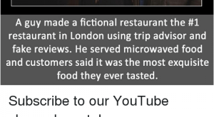 Fake, Food, and Memes: Sources mentioned at: FactPoint.net/  fp  A guy made a fictional restaurant the #  restaurant in London using trip advisor and  fake reviews, He served microwaved food  and customers said it was the most exquisite  food they ever tasted Subscribe to our YouTube channel: youtube.com-FactPoint check Source at : FactPoint.net- Or check this link: https:-www.vice.com-en_uk-article-gqw-i-made-my-shed-the-top-rated-restaurant-on-tripadvisor