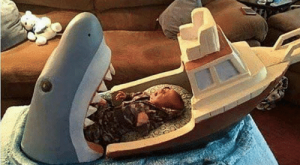 "Memes, Film, and : This is going to be me as a parent  Ababy bed inspired by the film ""Jaws"""