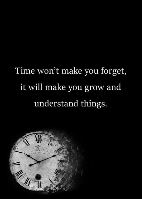 Memes, Time, and : Time won't make you forget,  it will make you grow and  understand things.