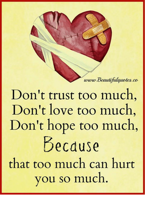 Love, Memes, and Too Much: www Beautifulquotes.co  Don't trust too much  Don't love too much  Don't hope too much,  Becduse  that too much can hurt  you so much