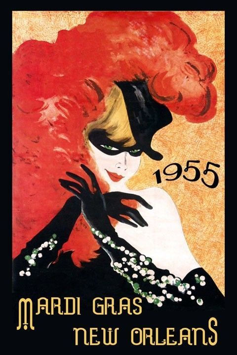 Mardi Gras New Orleans Carnival  Fashion Lady Vintage Poster Repro FREE S/H #Vintage…