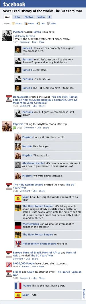 A humorous news feed about European history discussing the events occurring during the fir...