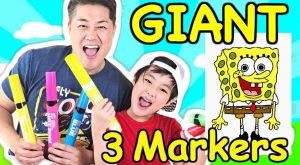 Giant  Marker Challenge with Daddy! Gone Wrong Spongebob Edition Epic Fail
