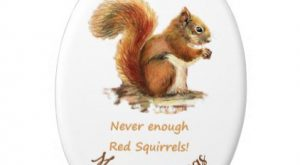Custom Dated Christmas Fun Red Squirrel Quote Ceramic Ornament – animal gift ideas animals…