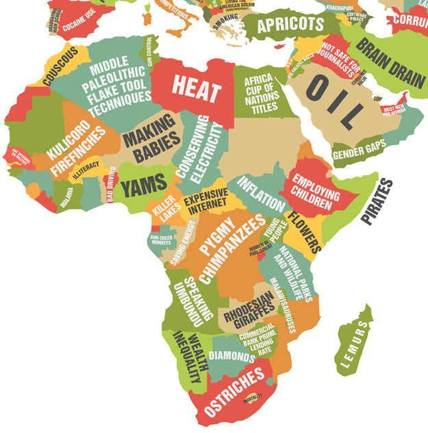 Africa and the Middle East. | This Map Showing What Each Country Leads The…