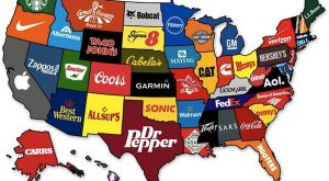 A new map shows the most popular brand that originated in each of the…
