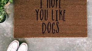 I Hope You Like Dogs Doormat – Funny Hand painted Door Mat Quote Unique…