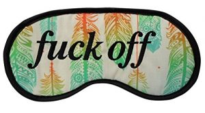 "Must Have: Novelty Feathers Pattern Eye Mask – "" Fuck Off "" Sleep Joke Blindfold Practical Joke Eyemask Gift"