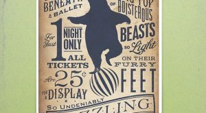 Circus Dancing Bear vintage style childrens graphic artwork giclee archival signed artists print by…