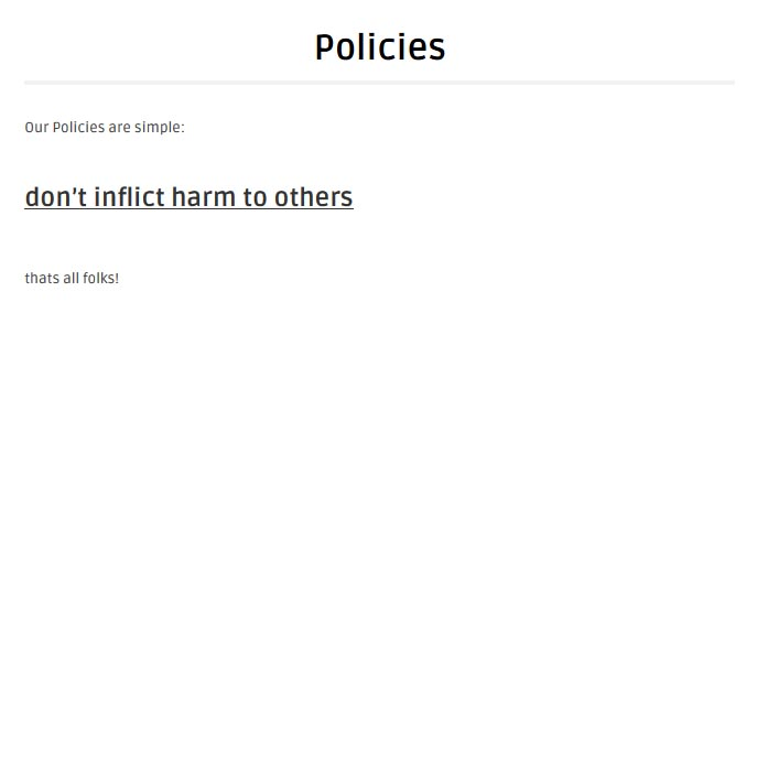 Our new Policies