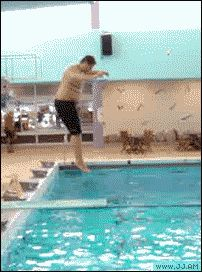 slipping off diving board
