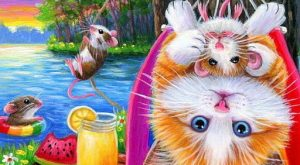 ACEO original cat mouse hammock lemonade lake swimming summer painting art #Miniature expl...