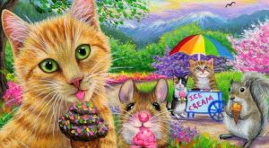 ACEO original cat mouse ice cream squirrel park spring painting art   Art, Paintings…