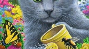 ACEO original cat mouse watering flowers garden spring painting art | Art, Paintings |…