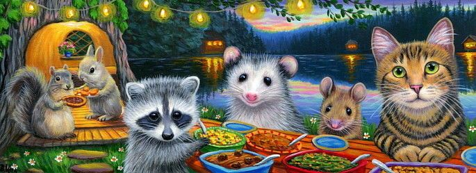 Double Length ACEO cat mouse squirrel raccoon possum bunny dinner painting art | Art,…