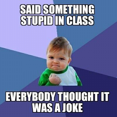 funny caption picture baby fist pump said something stupid in class everyone thought it…