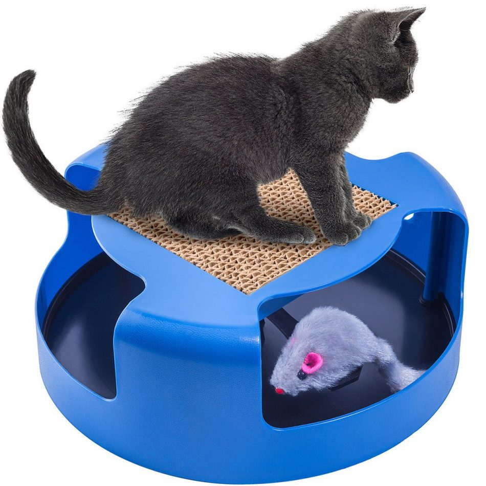 Cat Mouse Play Toy with Scratching Post Pad for Pup Animal Interactive Training #1…