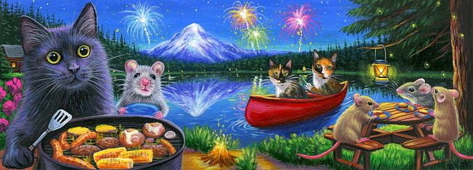 Double Length ACEO cat mouse July th fireworks lake picnic grill painting art |…