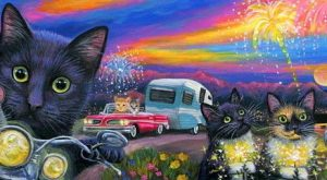Double Length ACEO cat mouse RV motel Route  New Years vacation painting art…
