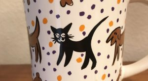 Pfaltzgraff Mug Cup Dog Black Cat Mouse Designer Collection Halloween Colors | Pottery &…