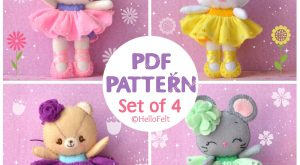 PDF PATTERN: Set of , Neki Ballerina & Friends. Felt Doll Cat, Mouse, Bear,…
