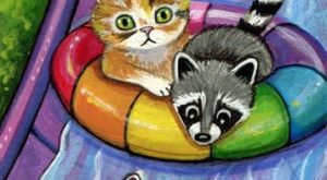 "Original Raccoon Cat Mouse Waterpark Slide Swimming Fun Double ACEO Painting #Realism "">…"