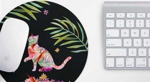 Cat Mouse Pad – Desk Accessories, Pretty Mouse Pad, Round Mouse mat, School Supplies...