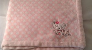 "Absorba Pink Kitty Cat Mouse Baby Blanket White Polka Dots Security "" x ""…"