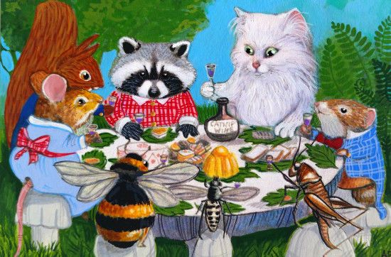 ACEO Original Cat Mouse Raccoon Squirrel Bee Party Bug Art Painting A. Berbling #Miniature…