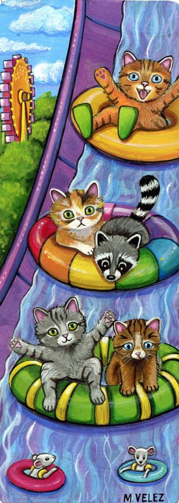 """Original Raccoon Cat Mouse Waterpark Slide Swimming Fun Double ACEO Painting #Realism """">…"""