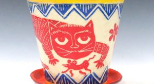 Made-to-Order Fabulous FLOWER POT Saucer, Outside or Inside Planter – Sly Cat Mouse Bird,…