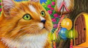ACEO original cat mouse birthday cake balloons moon tree painting art   Art, Paintings…