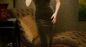 Laura Byrnes California – The Laura Byrnes Gilda Gown in Olive Velvet | Pinup…