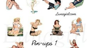 PIN UPS  collage sheet DOWNLOAD vintage retro pinup girls women altered art s…