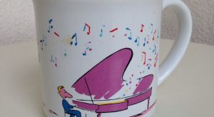 Vintage mug piano player with notes and birds humor Recycled Paper Products by NelandAda…